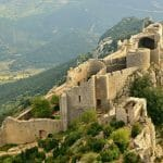 Peyrepertuse cathar castle seen from above